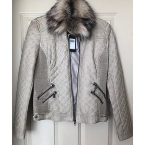 Guess Leather Moto Jacket with Faux Fur Collar